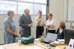 Staff and participants on the Making It training programme meet WECA Regional Mayor Tim Bowles at KWMC: The Factory
