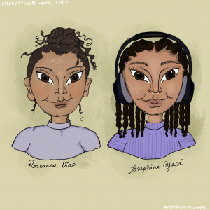 illustration of two ladies torsos both wearing purple tops, one with headphones and twists in her hair, one with her hair in a high bun